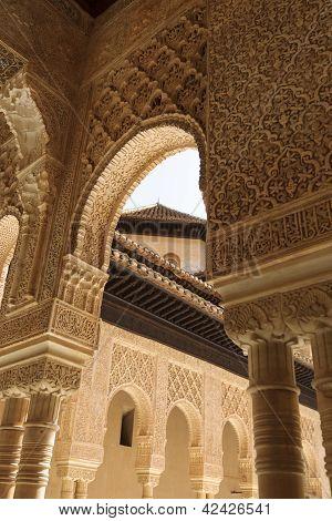 Famous Lion Fountain, Alhambra Castle (granada, Spain)
