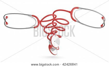 Medical Concept. Stethoscope. 3D Model Isolated On White Background