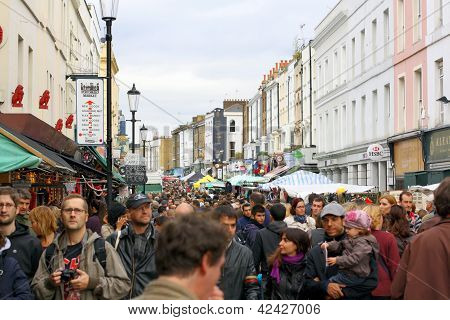Crowds in Portobello Road - London