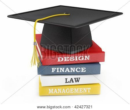 Graduation Cap On Books. Education Concept