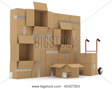 Warehouse Concept. Carboard Boxes Andh Hand Truck
