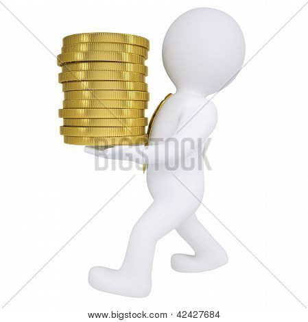3d man carries a gold coin