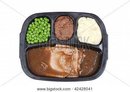 Top view roast beef tv dinner