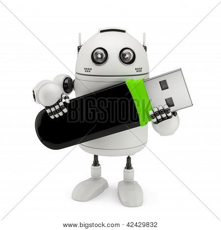 Robot Holding Usb Flash Drive