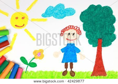 Kiddie Style Crayon Drawing Of A Green Meadow