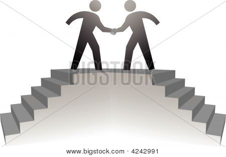 People Climb Stairs To Meeting Platform & Handshake On Deal