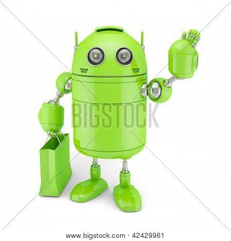 Android verde com saco de Shoping