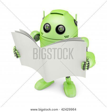 Android com o livro em branco