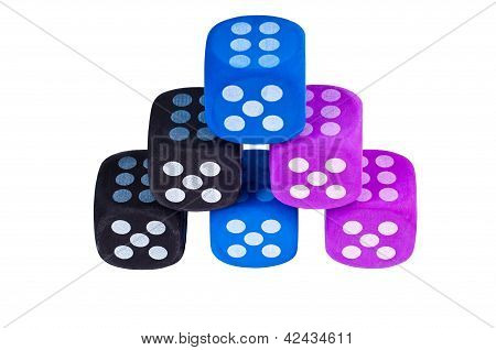 Six Dice With Sixes Showing.