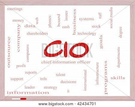 Cio Word Cloud Concept On A Dry Erase Board