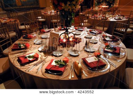Luxurious Table Setting At A Wedding Reception
