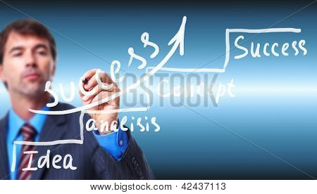 Businessman writing on blue screen. Successful strategy background.