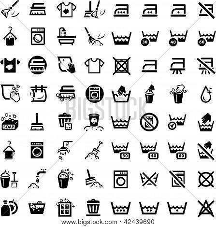 Grande conjunto de ícones de limpeza