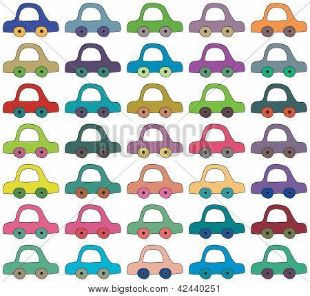 Seamless Vector Background, Cartoon Cars