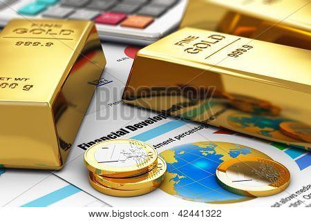 Lingotes de ouro e moedas sobre os relatórios financeiros