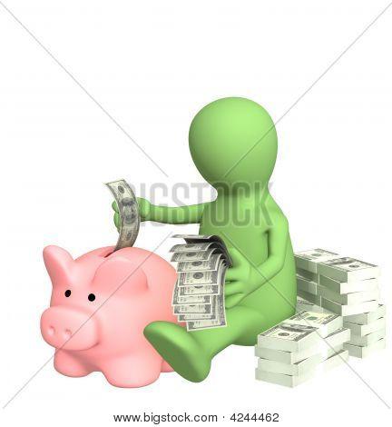 3D Puppet Who Is Saving Money In Piggy Bank