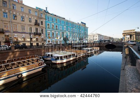 ST.PETERSBURG, RUSSIA - MAY 21: Griboyedov Canal Embankment, May 21, 2012 in St.Petersburg, Russia. Canal constructed in 1739 on the basis of the existing river Krivusha. In 1764-1790 was deepened.