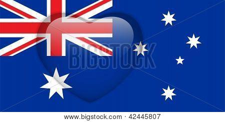 Australia Flag Heart Glossy Button