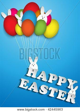 Happy Easter Rabbit Balloons Eggs