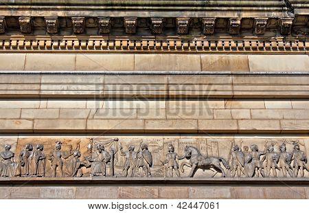 Intricate Mouldings On Old Sandstone Building