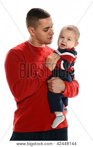 Hispanic father holding son isolated over white background