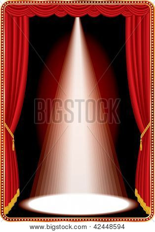 vector vertical red stage with one white spot light