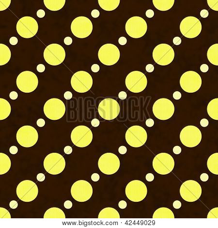 Yellow, White And Brown Polka Dot Fabric Background