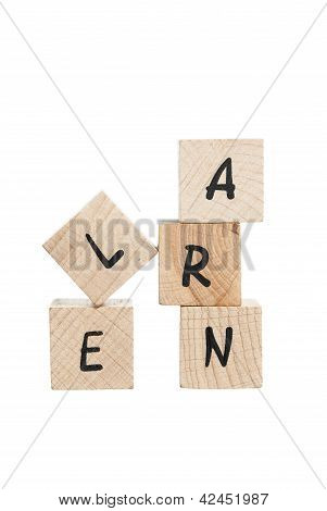 Learn Written With Wooden Blocks.