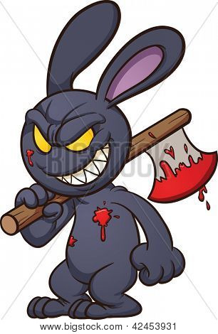 Evil cartoon black bunny. Vector clip art illustration with simple gradients. All in a single layer.