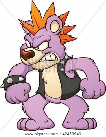 Angry punk bear. Vector clip art illustration with simple gradients. All in a single layer.