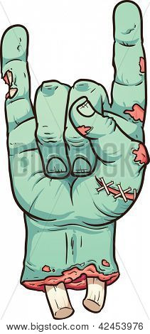 Severed zombie hand making rock sign. Vector clip art illustration with simple gradients. All in a single layer.