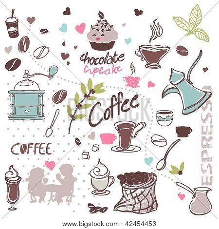 set of coffee doodles