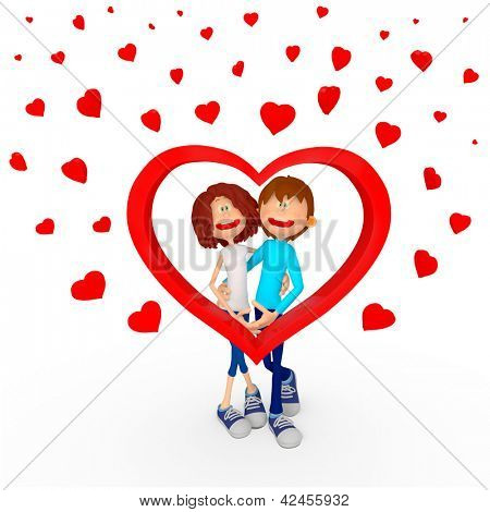 3D couple in love celebrating Valentines Day - isolated over white
