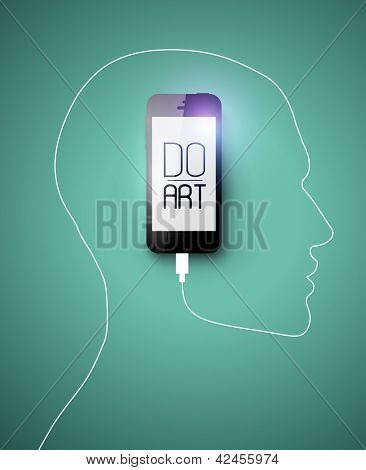 Black IPhone 5 alike gadget forming human face profile with its cable. Creative concept for your design idea, Eps10, vector illustration. Be free!
