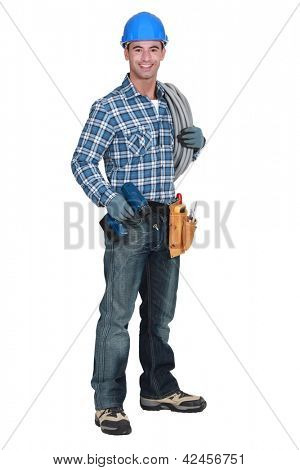 Craftsman with drill and coil of wiring