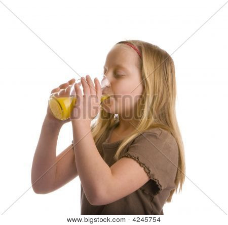 Thirsty Girl Drinking Orange Juice