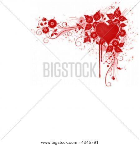 Floral Red  Valentine Heart