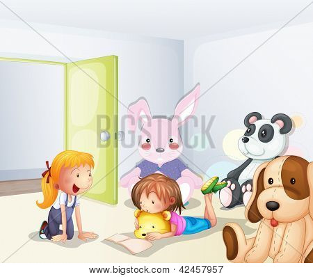 Illustration of a room with kids and animals