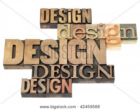 design word abstract - isolated text in a variety of vintage letterpress wood type printing blocks