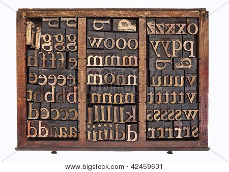 letterpress wood type printing blocks in old typesetter drawer isolated on white