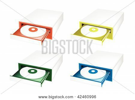 A Colorful Illustration Set Of Disk Drive