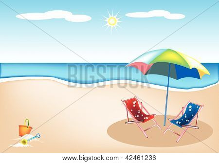 Illustration Of Beach Chairs With Umbrella And Toys