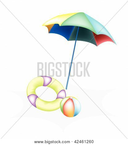 Illustration Of Beach Ball With Inflatable Ring And Umbrella