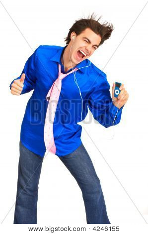Young Man With Mp3-Player