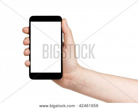 Female Teen Hand Holding Touch Device