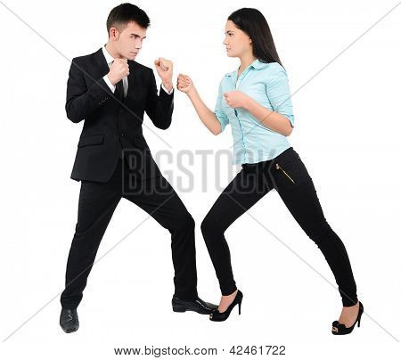 Isolated young business couple fight