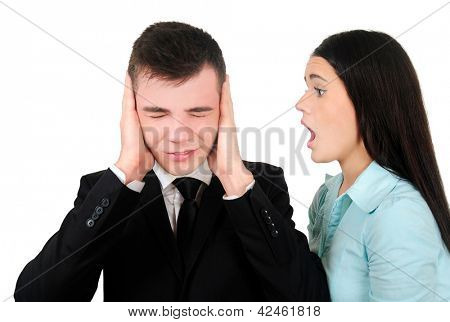 Isolated young business couple screaming
