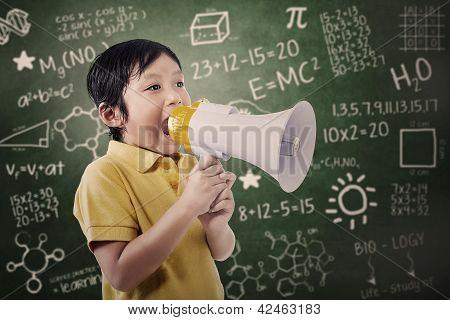 Boy Student Announce Using Speaker