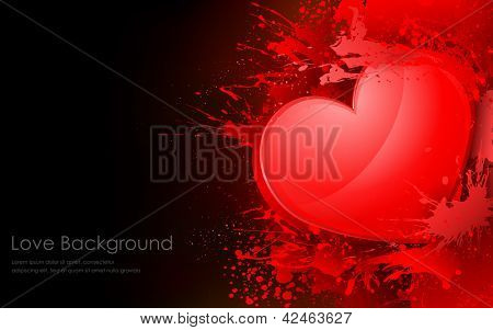 illustration of heart with splash on grungy background