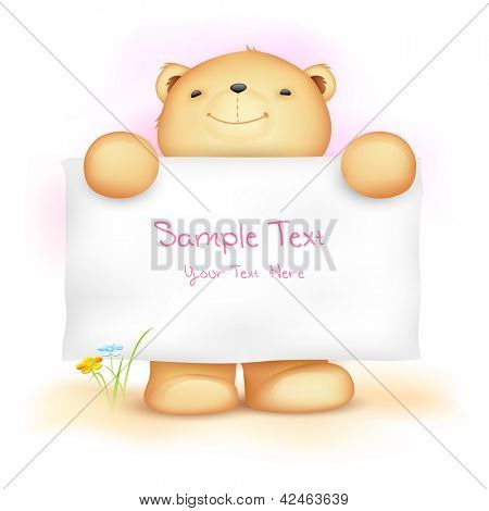 illustration of cute teddy bear holding blank board